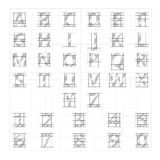 Drafting paper alphabet. Vector drawing sketch letters. Alphabet lettering instructional drafting, illustration of drafting letters Stock Photo