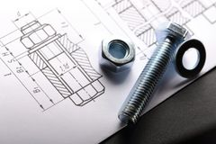 Drafting and screw bolt Royalty Free Stock Image