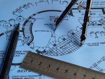 Drafting Tools. Blueprint Drafting Tools stock images