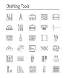 Drafting tools icon collection. Engineering drawing. Line icons Stock Images