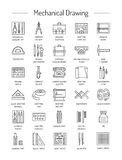 Drafting tools icon collection. Technical drawing. Line icons se Stock Photo