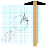 Drafting tools square compass engineering Royalty Free Stock Photo