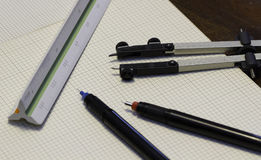 Drafting Tools. Drafting supplies and paper for either engineering or architectural drawings Stock Photography