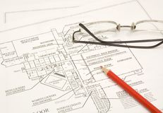 Draftings, pencil and glasses Royalty Free Stock Photography