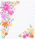Drafts of colorful drawings of leaves, flowers and butterfly. Sheet of notebook with drafts of colorful drawings of leaves and butterfly . All to make children Royalty Free Stock Images
