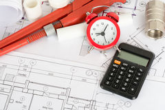 Drafts with instrument and calculator Stock Image