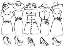 Drafts of women's clothing. Vector illustration of drafts of women's clothing Stock Photo