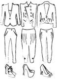 Drafts of women's clothing. Vector illustration of drafts of women's clothing Royalty Free Stock Images