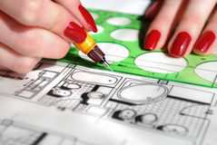 Draftsman. Working process of the architect royalty free stock photos
