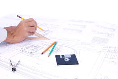 Draftsman. Projection -initial preparatory stage in construction new building stock photo