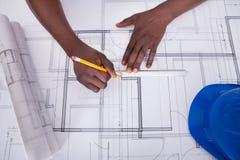 Draftsman Drawing Blueprint Stock Image