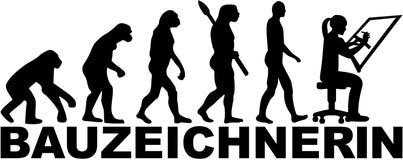 Draftsman ewolucja z niemieckim żeńskim stanowiskiem royalty ilustracja