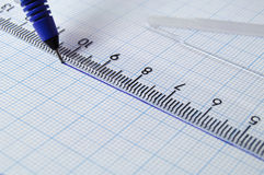 Draftsmanship with pen and ruler Stock Image