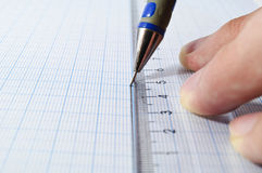 Draftsmanship with pencil and ruler Stock Photo