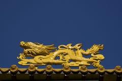 Dragão amarelo no templo fotos de stock