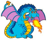 Dragão azul grande do incêndio ilustração stock
