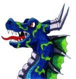 Dragão azul irritado Imagem de Stock