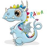 Dragão bonito dos desenhos animados em um fundo branco ilustração royalty free