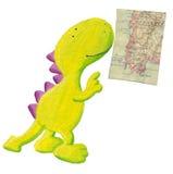 Dragão bonito que estuda o mapa velho da geografia ilustração do vetor