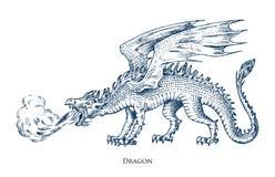 Dragão chinês Animal mitológico ou réptil tradicional asiático Símbolo para a tatuagem ou a etiqueta Linha tirada mão gravada ilustração royalty free