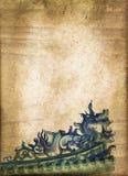 Dragão chinês azul, vintage do sepia imagem de stock royalty free