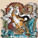 Dragão chinês contra o tigre na paisagem Imagem de Stock