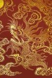 Dragão chinês pintado em uma parede ilustração do vetor