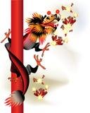 Dragão chinês preto com foguetes ilustração do vetor