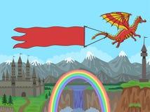 Dragão com a bandeira no fundo Imagens de Stock