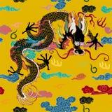 Dragão com nuvens ilustração royalty free