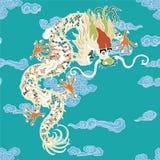 Dragão com nuvens ilustração do vetor