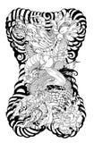 Dragão com tatuagem da flor de Koi Dragon e de lótus o pêssego com Sakura e a ameixa florescem no fundo da nuvem ilustração royalty free