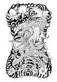 Dragão com tatuagem da flor de Koi Dragon e de lótus o pêssego com Sakura e a ameixa florescem no fundo da nuvem ilustração stock