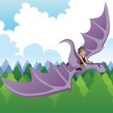 Dragão da equitação do menino Fotografia de Stock Royalty Free