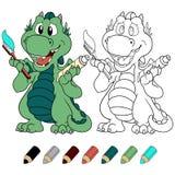 Dragão da hortelã do ute do ¡ de Ð com versão do livro para colorir do dentífrico e da escova de dentes Fotografia de Stock