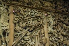 Dragão de cinzeladura de madeira mim Fotos de Stock Royalty Free