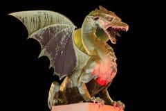 Dragão de Ljubljana na ponte do dragão Fotografia de Stock Royalty Free