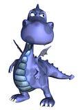 Dragão do bebê azul que pensa aproximadamente Fotos de Stock Royalty Free
