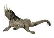 dragão do conto de fadas da rendição 3D no branco imagens de stock royalty free
