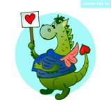 dragão do coração ilustração royalty free