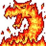 Dragão do fogo da arte do pixel do vetor ilustração do vetor