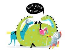 Dragão do livro de leitura e cavaleiro Listening à história ilustração stock