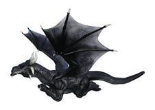 dragão do preto da fantasia da rendição 3D no branco Fotografia de Stock Royalty Free