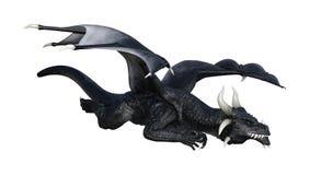dragão do preto da fantasia da rendição 3D no branco Foto de Stock Royalty Free