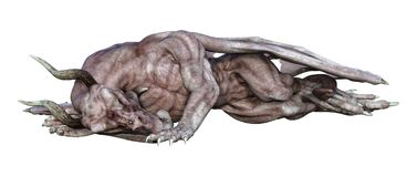 dragão do vampiro da fantasia da rendição 3D no branco Foto de Stock
