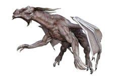 dragão do vampiro da fantasia da rendição 3D no branco Fotografia de Stock