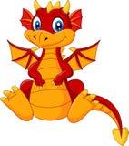 Dragão do vermelho do bebê dos desenhos animados ilustração stock