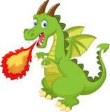 Dragão dos desenhos animados com fogo Fotos de Stock Royalty Free