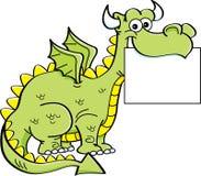 Dragão dos desenhos animados que guarda um sinal Imagens de Stock Royalty Free