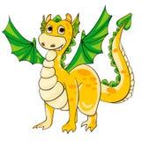 Dragão dourado com asas verdes ilustração do vetor